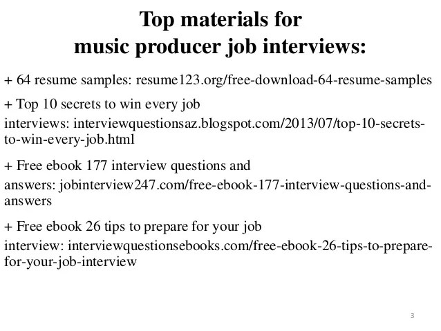 music producer resume - Pinarkubkireklamowe