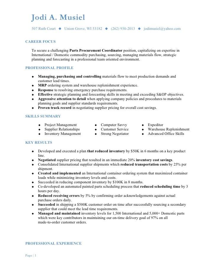 procurement coordinator resumes - Ozilalmanoof