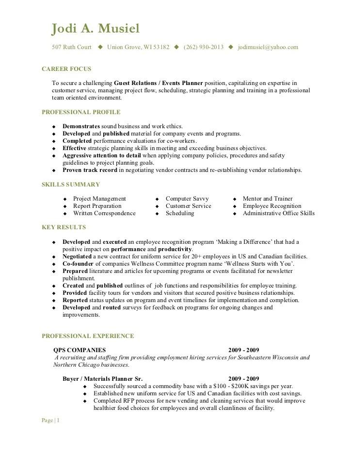 hotel guest relation manager resume sample