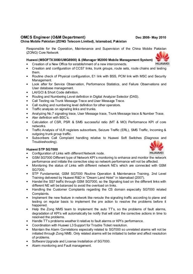 Senior telecommunication engineer resume Scm resume format