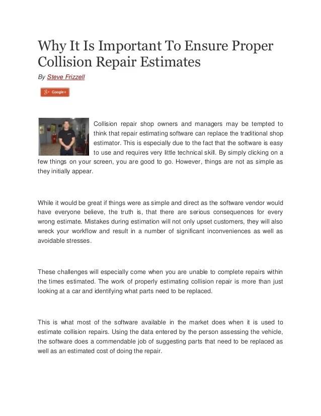 car body repair estimate - Roho4senses