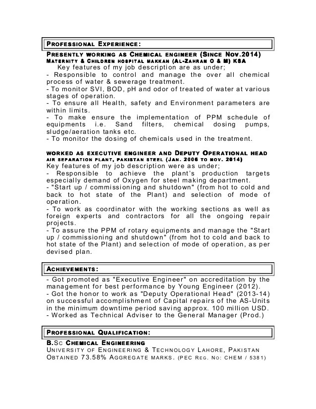 resume chemical engineering - Towerssconstruction