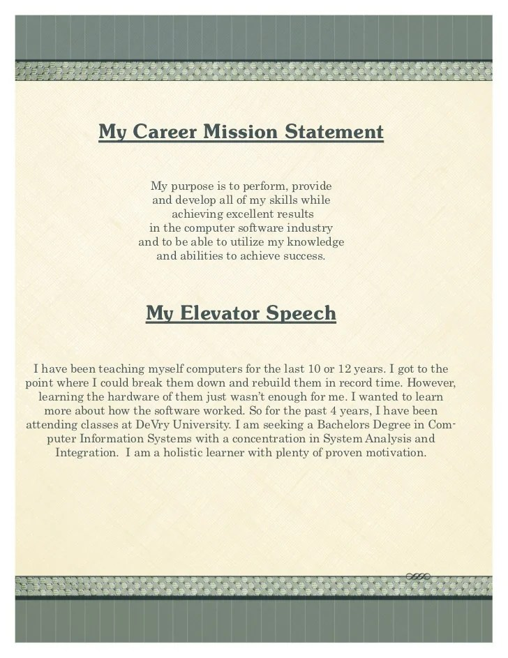sample resume mission statements