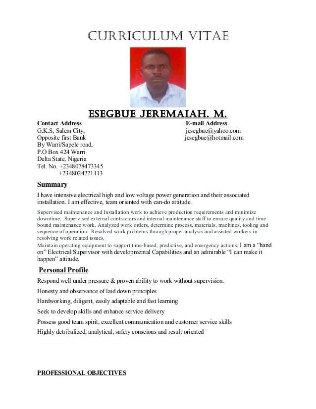 sample resume electrical supervisor
