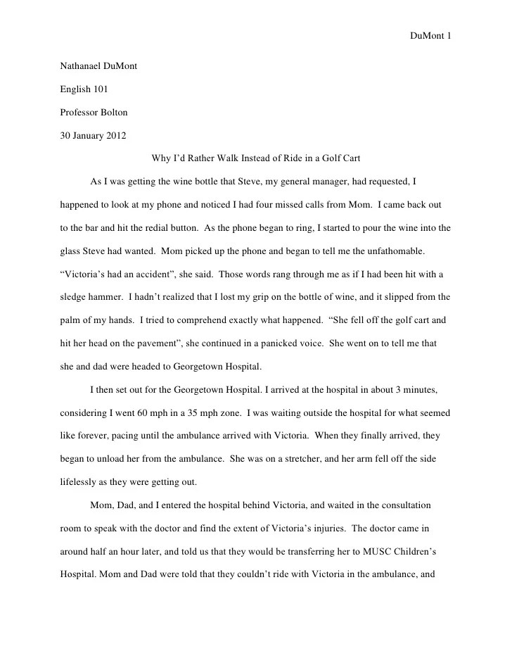 college personal essays examples