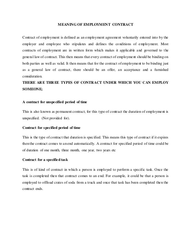 employment contract sample pdf - Intoanysearch