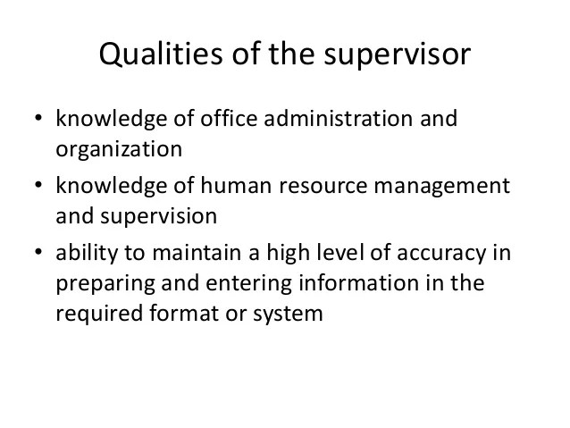 qualities of a supervisor - Selol-ink