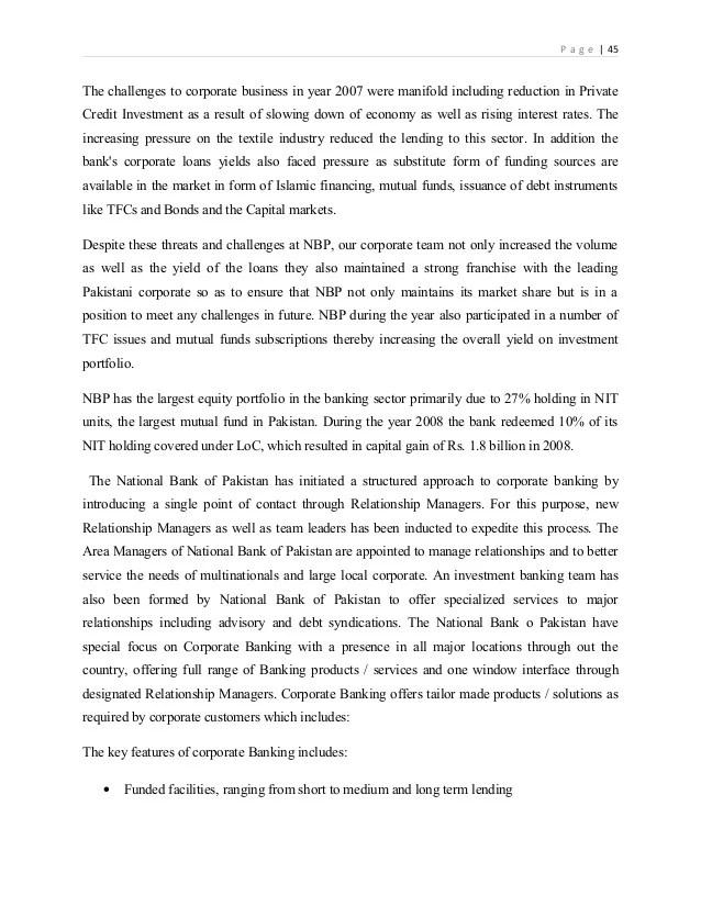Nbp internship-report-on-national-bank-of-pakistan-2012