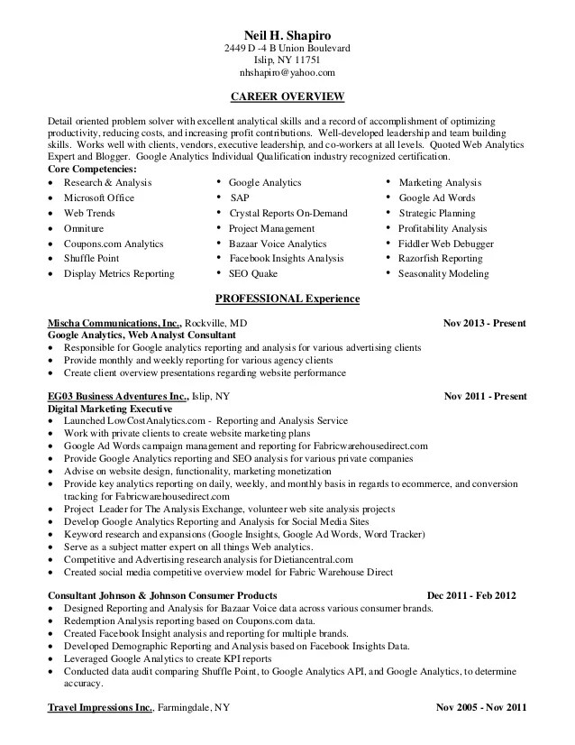 analytics resumes - Funfpandroid - Marketing Database Analyst Sample Resume