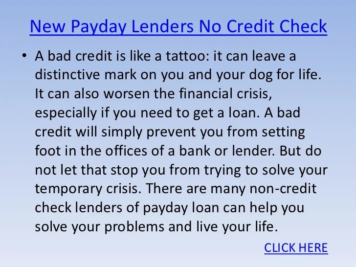 New payday lenders no credit check
