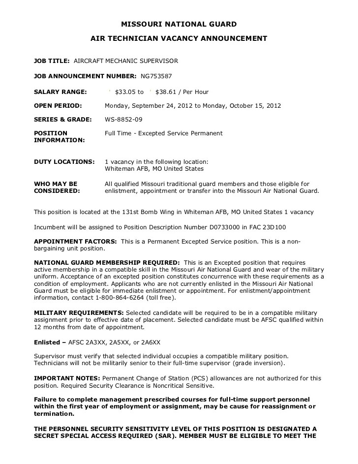 Technical Resume Examples To Showcase Your Technical Skills Ng753587 Aircraft Mechanic Supervisor Ws 09 Whiteman