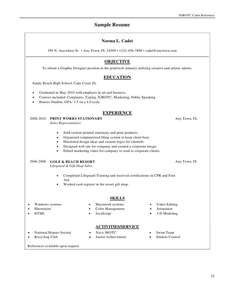 High School Teacher Resume Example Njrotc Cadet Reference Manual