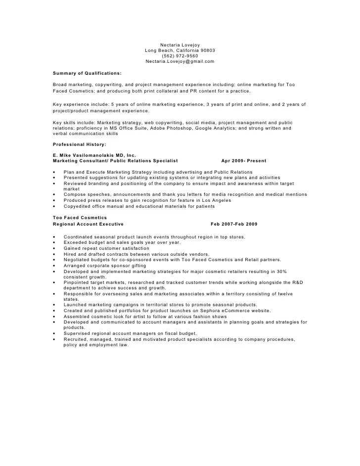 cosmetic counter manager resume