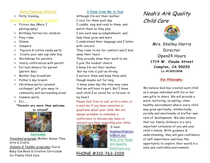 daycare brochure sample - Onwebioinnovate