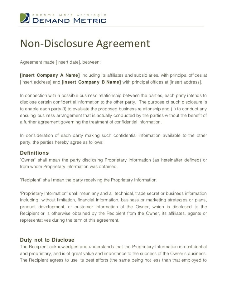 Hr Non Disclosure Agreement Template  Create Professional Resumes