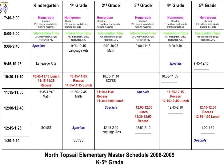 elementary school scheduling template - Josemulinohouse - master schedule template