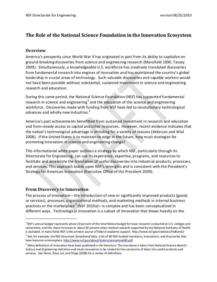 Partnerships For Innovation Pfi Nsf18511 Nsf Nsf In The Innovation Ecosystem