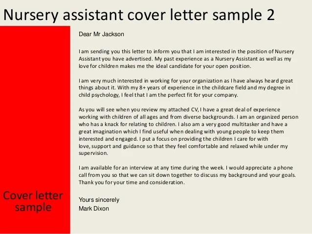 Amazing Cover Letters Cover Letter And Job Application Nursery Assistant Cover Letter