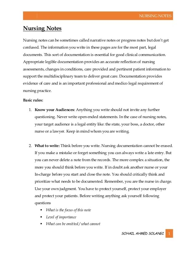 examples of nursing notes - Kenicandlecomfortzone