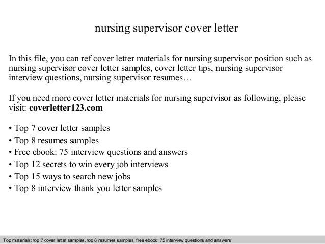 nurse supervisor cover letter - Minimfagency - cover letter samples nursing