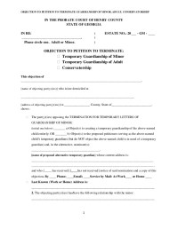 Objection to petition to terminate guardianship of minor ...