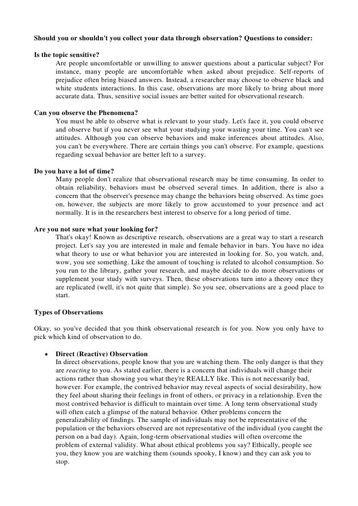 observation person essay