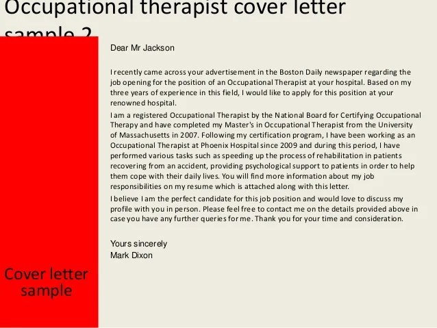 occupational therapy cover letter - Ozilalmanoof
