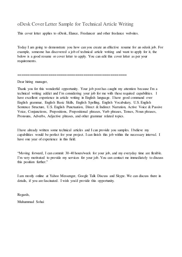 technical writing cover letter - Canasbergdorfbib