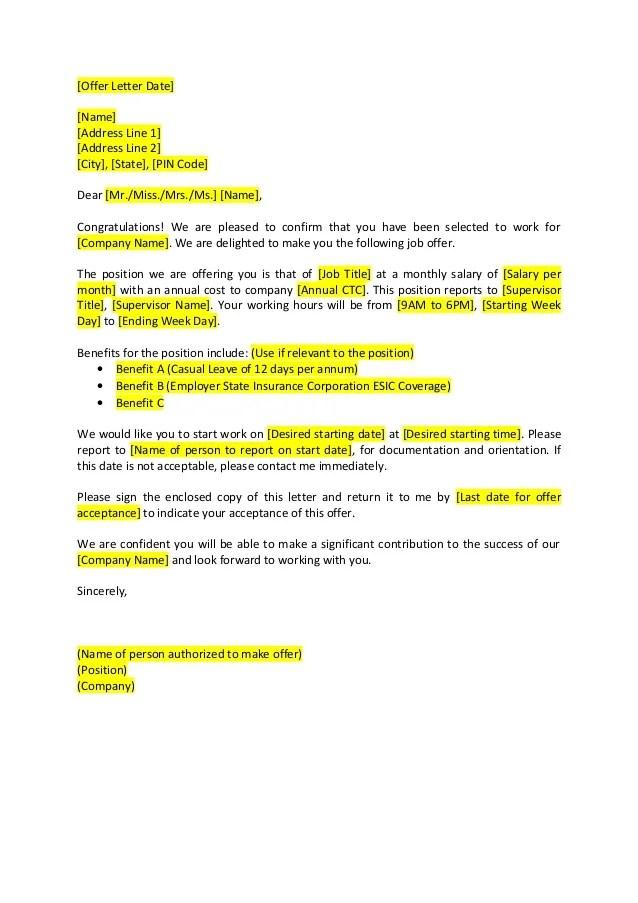 offer letter format - Pinarkubkireklamowe