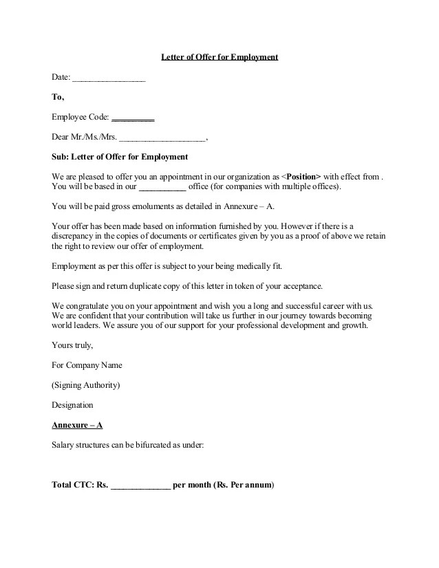 A Letter For Accepting A Job Offer But Requiring A Salary Offer Letter 5