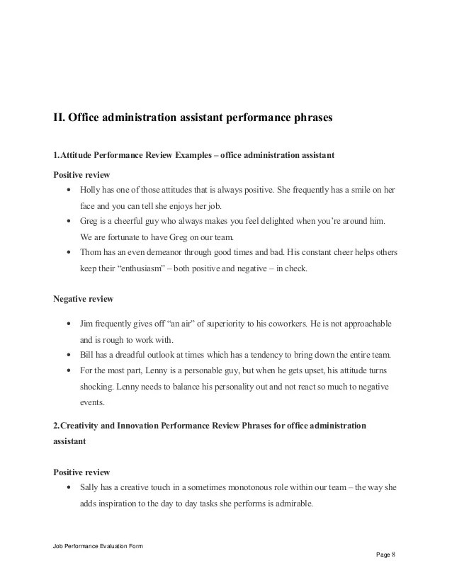office manager performance review sample - Josemulinohouse - performance evaluation sample