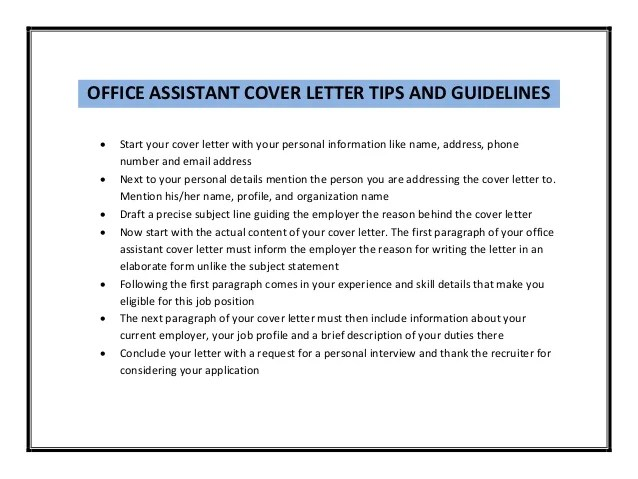 office assistant cover letter - Minimfagency