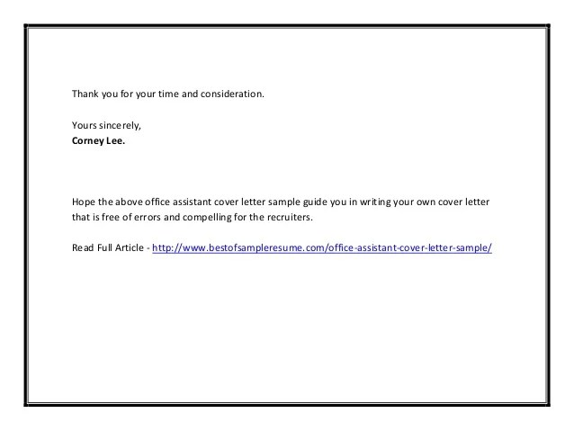 Sample Cover Letters O Resume Cover Letters O Cover Letter Office Assistant Cover Letter Sample