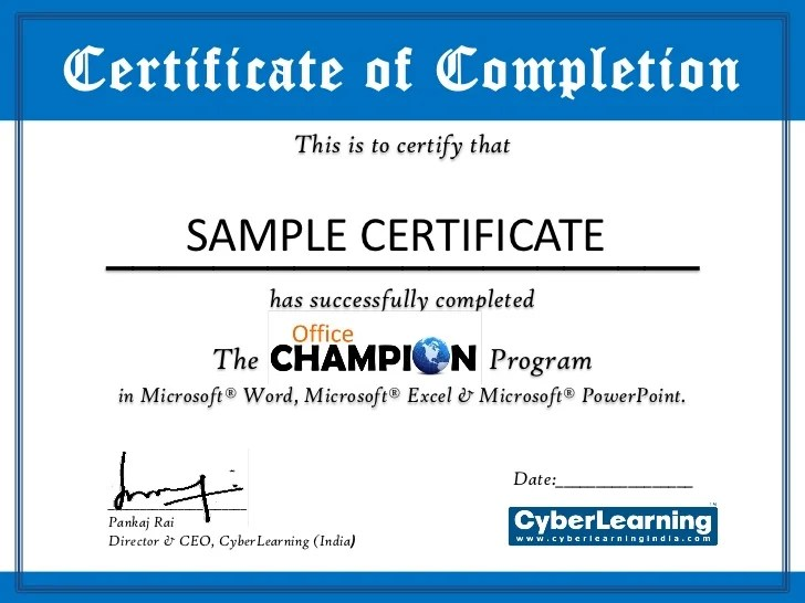 Certificate Template Champion – Ms Office Certificate Template