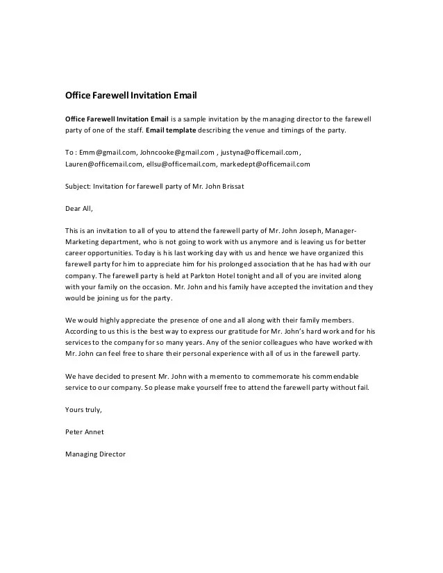 Farewell lunch invitation sample letter professional resumes farewell lunch invitation sample letter invitation letter sample download free business letter office farewell invitation email stopboris Gallery