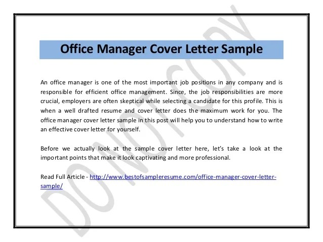 sample office manager cover letter - Intoanysearch