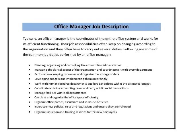 Resume Samples Office Manager Resume Example Ideas  Office Manager Duties Resume