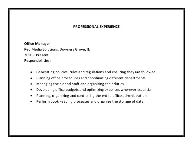 Job Qualification Examples Chron Office Manager Resume Sample Pdf