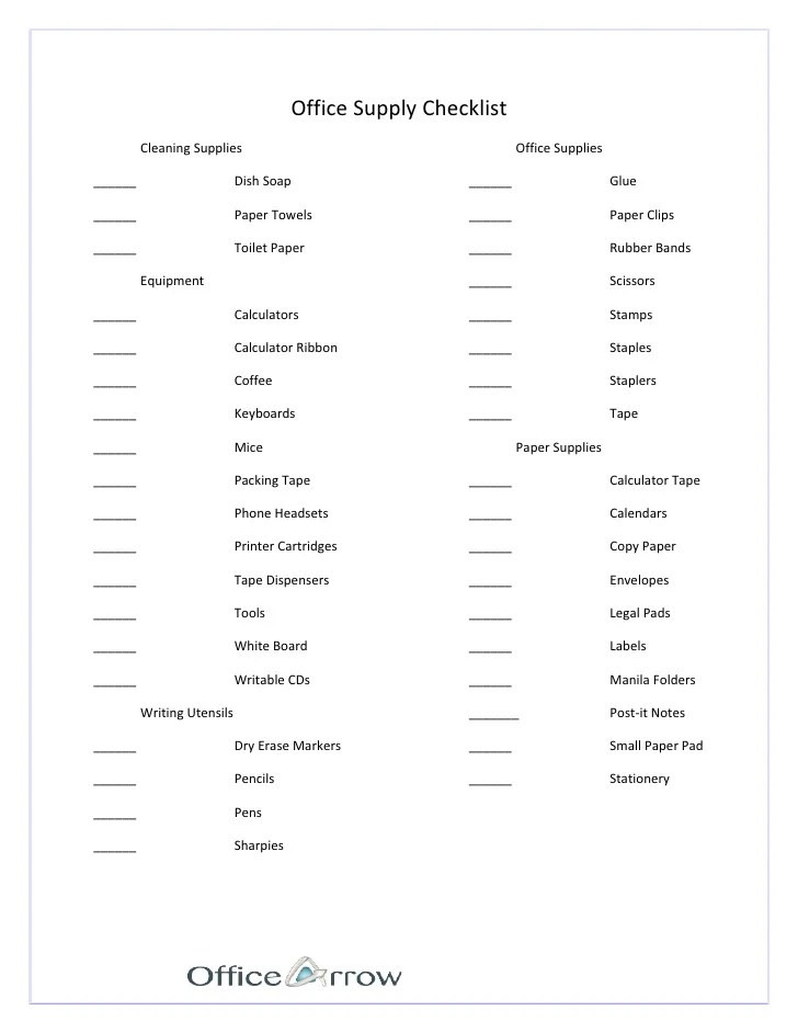 supplies list for office - Ozilalmanoof - printable office supply list