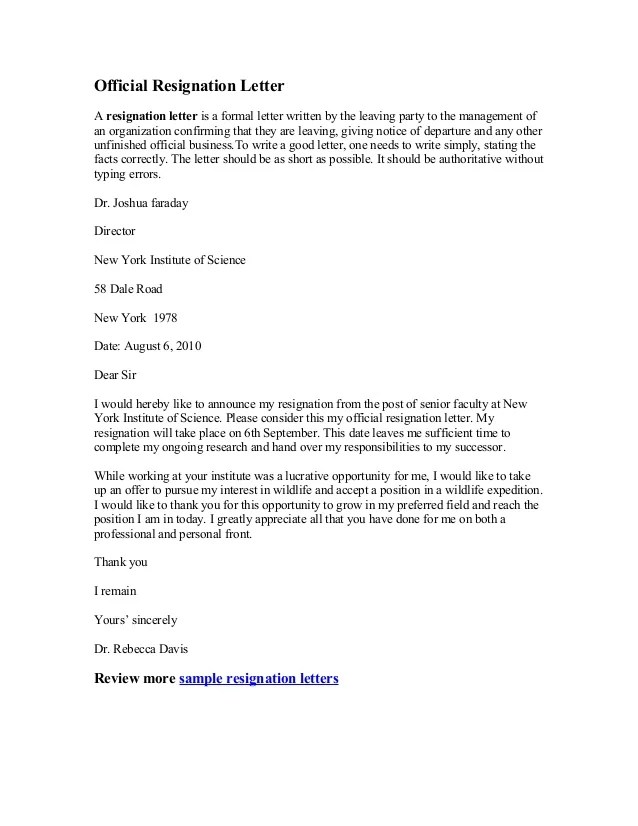 Resignation Letter Template After Maternity Leave Uk After Maternity Leave Resignation  Letter Example Official Resignation Letter