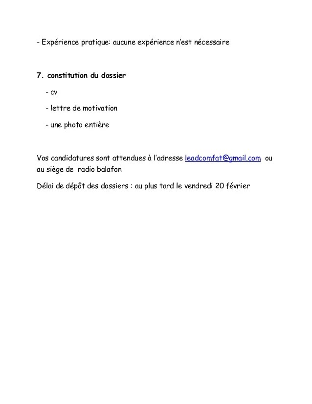 lettre de motivation cv direction acm