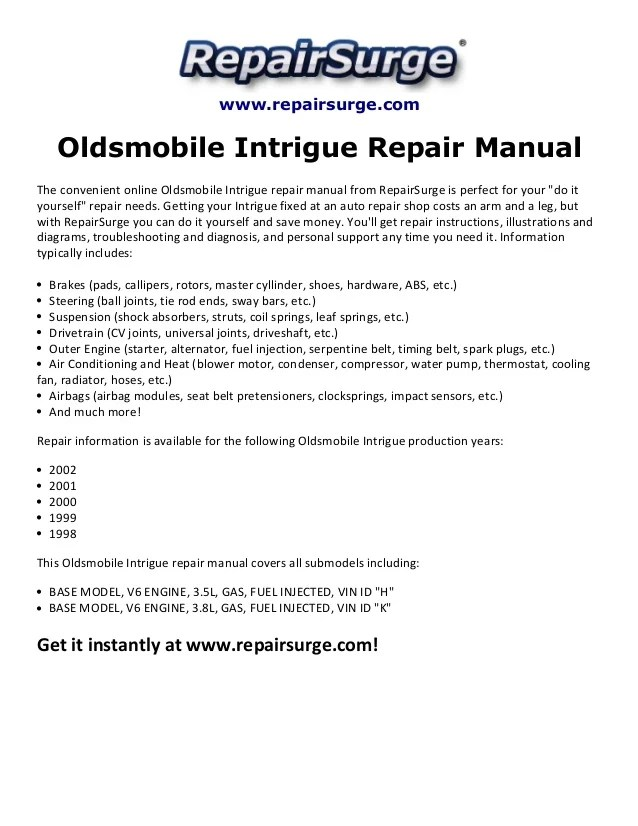 1998 Oldsmobile Intrigue Engine Diagram Wiring Diagram