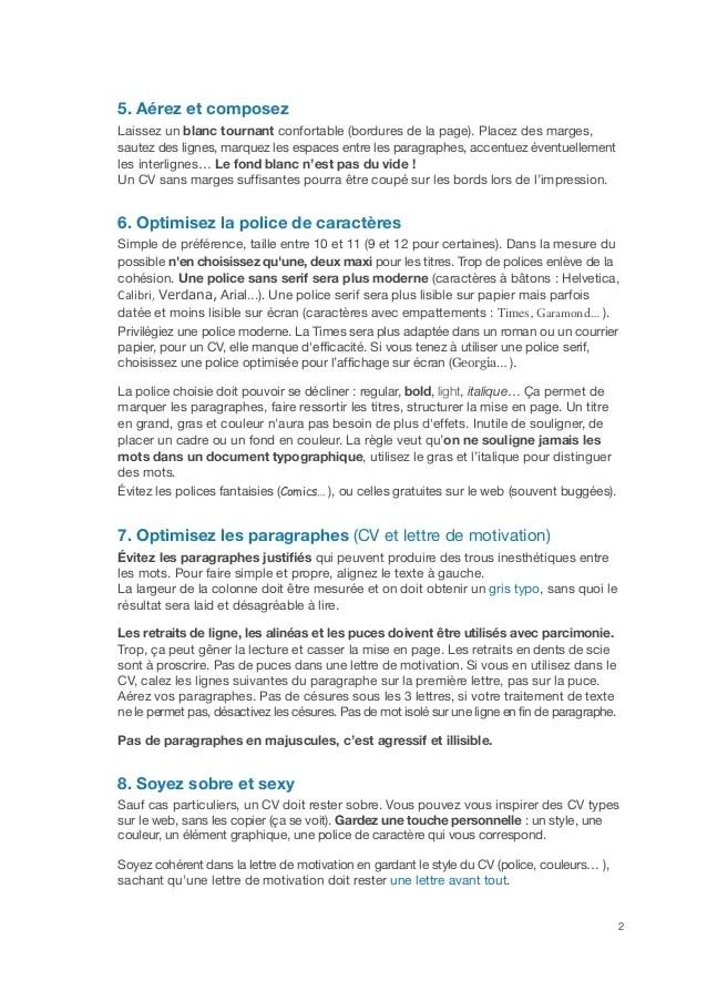 regles cv en francais