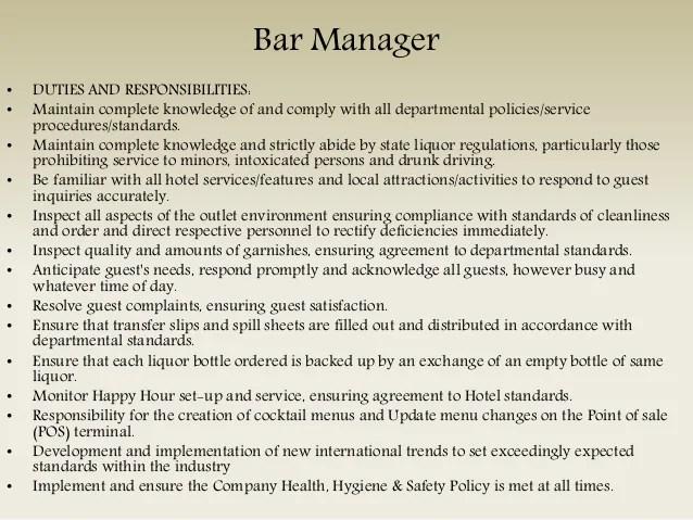 bar manager duties