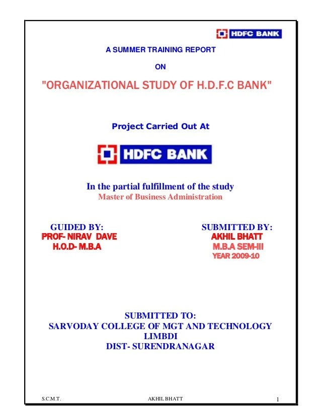Application Letter Sample Letters Organization Study On Hdfc Bank