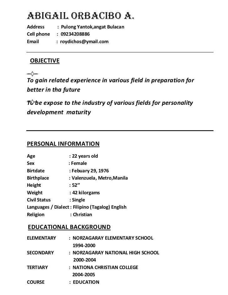 Resume Sample Resume Format Jollibee resume example for jollibee template application letter in jollibee
