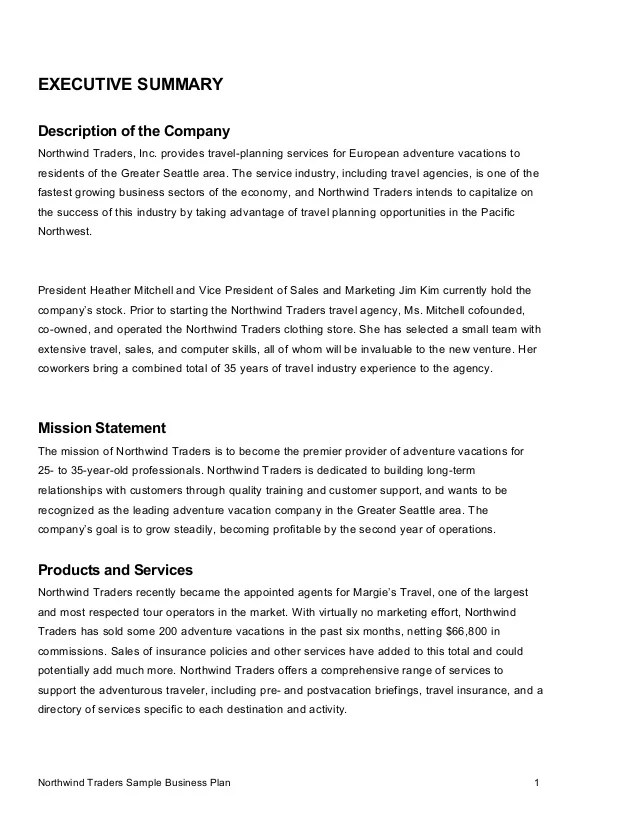 business plan executive summary outline - Akbagreenw