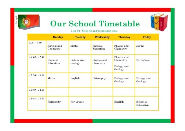 High School Timetable Template | Birthday Templates For Free