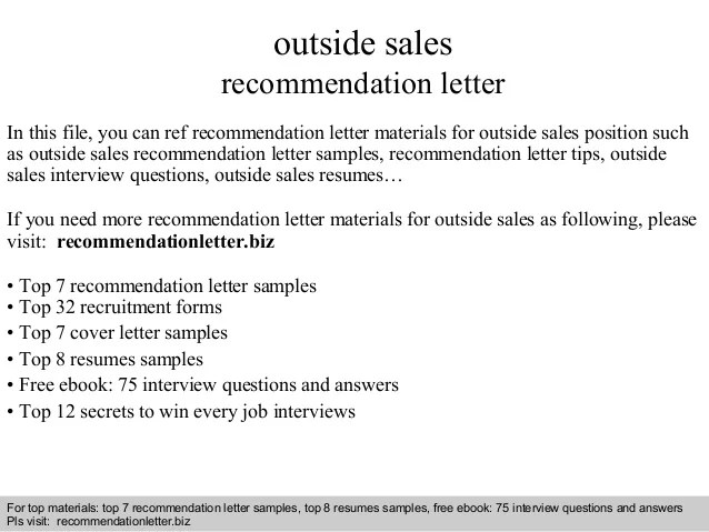 Outside Sales Representative Recommendation Letter - Resume ...
