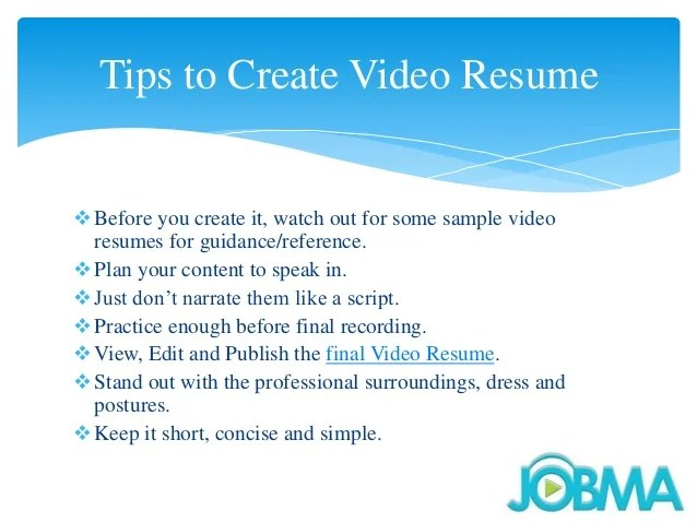 Attractive Video Resume Tips Composition - Simple cover letter